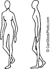 Silhouette mannequins for fashion. The illustration in the...