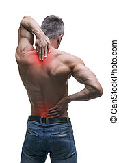 Middle aged man with back pain, muscular male body, studio isolated shot on white background