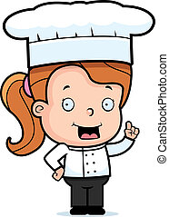 Child Chef - A happy cartoon child chef standing and...