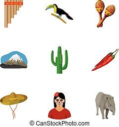 Mexico country set icons in cartoon style. Big collection of...