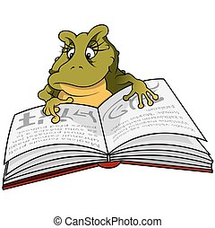 Green Frog Reading Book - Cartoon Illustration, Vector