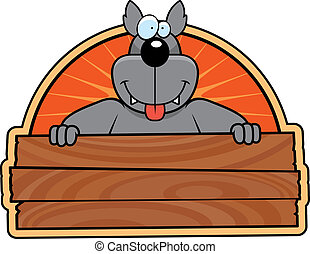 Wolf Sign - A happy cartoon wolf with a wooden sign