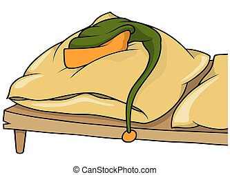 Bed with Laying Cap - Laying Cap on a Bed - Cartoon...