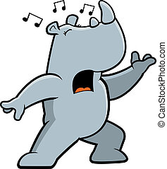 Rhino Singing - A cartoon rhino standing and singing a song.