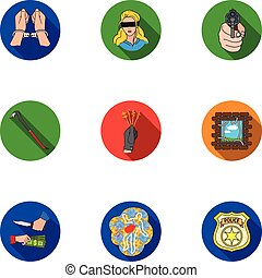Crime set icons in flat style. Big collection of crime...