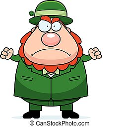 Angry Leprechaun - A cartoon leprechaun frowning and looking...