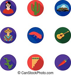 Mexico country set icons in flat style. Big collection of...