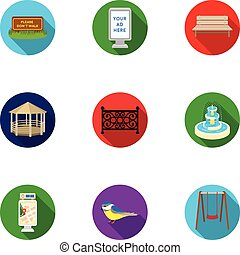 Park set icons in flat style. Big collection of park vector...