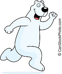 Polar Bear Running - A happy cartoon polar bear running and...