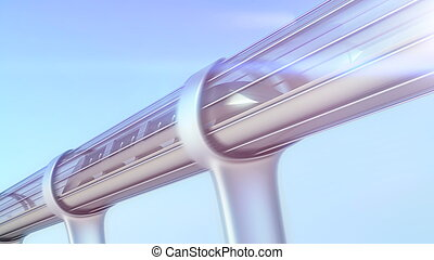 monorail futuristic train in tunnel. 3d illustration -...