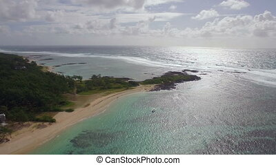 Mauritius coast and Indian Ocean, aerial view - Aerial...