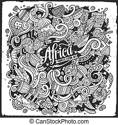Cartoon cute doodles Africa illustration - Cartoon cute...