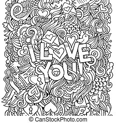 Love hand lettering and doodles elements background. Vector...
