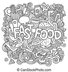 Fast food hand lettering and doodles elements background....