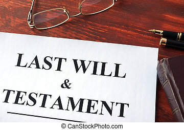 Last Will & Testament form on a table.