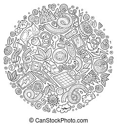 Vector set of Electric cars cartoon doodle objects - Line...