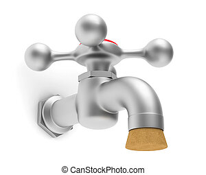 faucet on white background. Isolated 3D image