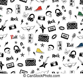 Punk Rock seamless pattern isolated on white. Rock and roll...
