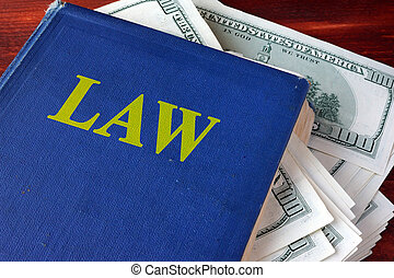Political corruption concept.  Book with law and cash.