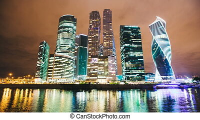 Skyscrapers International Business Center City at night timelapse , Moscow, Russia