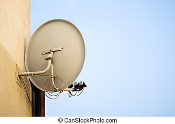 Tv satellite dish on the home wall in the city in urban area...