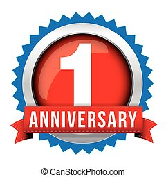 One year anniversary badge with red ribbon