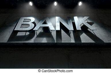 Modern Bank Building Signage - A 3D render of laser cut...