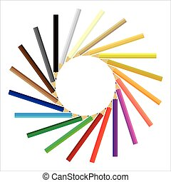 Colored pencils gathered in a circle