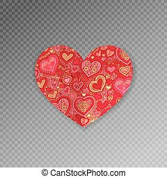 red ornate paper heart shape origami with shadow on...