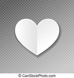 white paper heart shape origami with shadow on transparence...