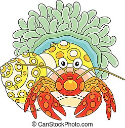 Diogenes-crab with an actinia - Vector illustration of a...