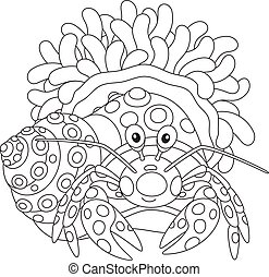 Diogenes-crab with an actinia - Black and white vector...