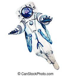 Watercolor astronaut in a spacesuit isolated on white...