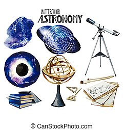 Watercolor astronomy collection