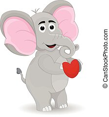 standing elephant holdingn heart sign