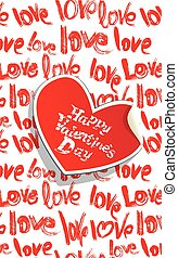 White background with red brush strokes and scribbles in heart shapes and words Love - Happy Valentines Day card in grunge style.