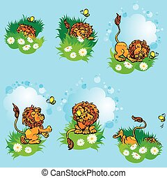 Set hand drawn images with funny lion play with butterfly on blue background. Design background for children.