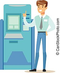 Bank Consultant Standing Next To ATM Cash Machine. Bank...