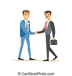 Bank Manager Meeting Handshaking With Important Client. Bank...
