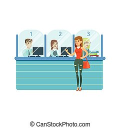 Three Bank Operators In Glass Cubicles And Woman Client....
