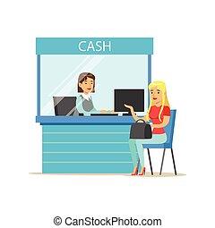 Woman Withdrawing Cash At Bank Cashier. Bank Service,...