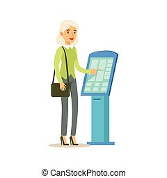 Woman Taking Electronic Queue Ticket. Bank Service, Account Management And Financial Affairs Themed Vector Illustration