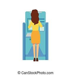 Woman Using ATM Cash MAchine. Bank Service, Account...