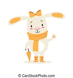 Little Girly Cute White Pet Bunny In Orange Autumn Clothes With Umbrella, Cartoon Character Life Situation Illustration
