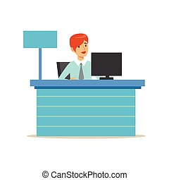 Office Bank Employee At Her Desk. Bank Service, Account...
