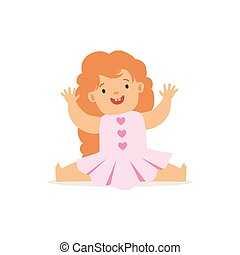 Redhead Girl Sitting In Pink Dress, Adorable Smiling Baby Cartoon Character Every Day Situation