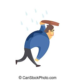 Businessman Top Manager In A Suit Walking Under Rain, Office Job Situation Illustration