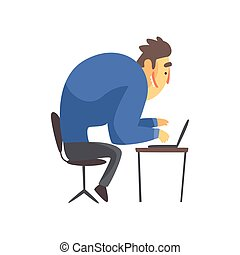 Businessman Top Manager In A Suit At His Desk, Office Job Situation Illustration