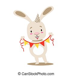 Little Girly Cute White Pet Bunny With Birthday Paper Garland On A String, Cartoon Character Life Situation Illustration