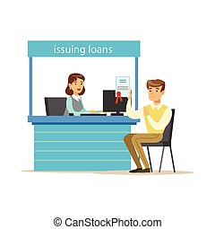 Bank Client Getting A Loan. Bank Service, Account Management...